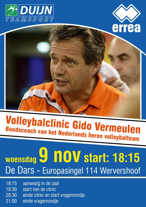 9 november geeft bondscoach Gido Vermeulen een volleybalclinic